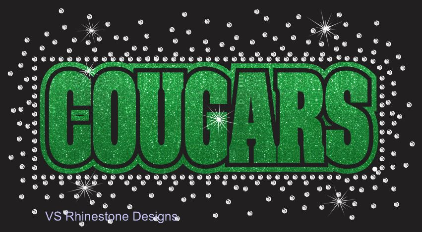 Cougars Reverse Vinyl and Rhinestone Transfer